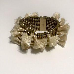 Banana Republic Gold Bronze Tassel Beaded Bracelet